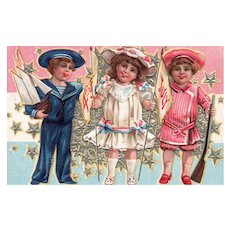 Nash Fourth of July Series 4 Patriotic Vintage Postcard Children pose