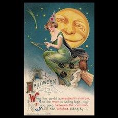 1911 Samuel Schmucker John Winsch vintage Halloween Postcard Witch on broom