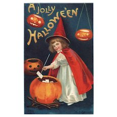 Signed Ellen Clapsaddle vintage Halloween postcard Young Witch in red