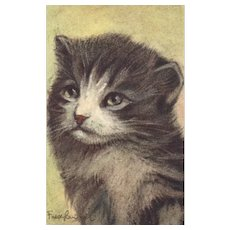 Artist Signed cat Kitten  #82  vintage Switzerland Postcard