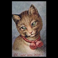 Artist Signed Arthur Thiele Green eyed Cat  vintage postcard