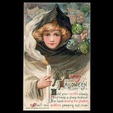 1911 Fabulous John Winsch Samuel Schmucker Halloween Postcard Beautiful Witch