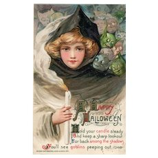 1911 Fabulous John Winsch Samuel Schmucker Halloween Postcard Beautiful Witch