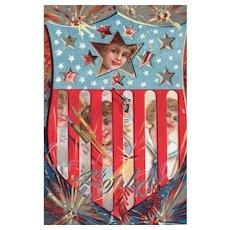 Nash Fourth Of July Series 4 Patriotic Vintage Firework Postcard