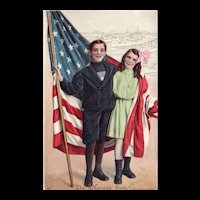 Series 7153 Embossed Boy and Girl Wrapped In American Flag With Pride Patriotic Postcard