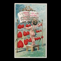 John Winsch 1913 Valentine Cupid Playing Song On Red Hearts Postcard