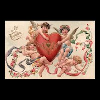 Stunning Gold Gilt  Angels Holding Heart Wrapped In Roses and Ribbon Valentines Postcard