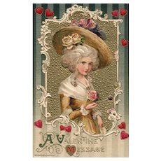 Winsch Gold Metallic Woman In Yellow Dress With Large Straw Hat Decorated With Roses Valentine Postcard