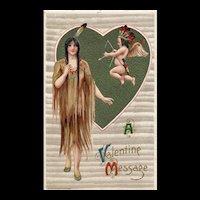 Samuel Schmucker Winsch 1910 Maiden Indian Woman and Quid Dressed In Indian Headpiece Valentine Postcard