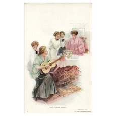 The Fudge Party Charles Scribner Women making fudge and playing music on Guitar postcard