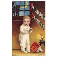 Signed Ellen Clapsaddle Vintage Halloween Postcard Boy Ghost Stories Series 1393