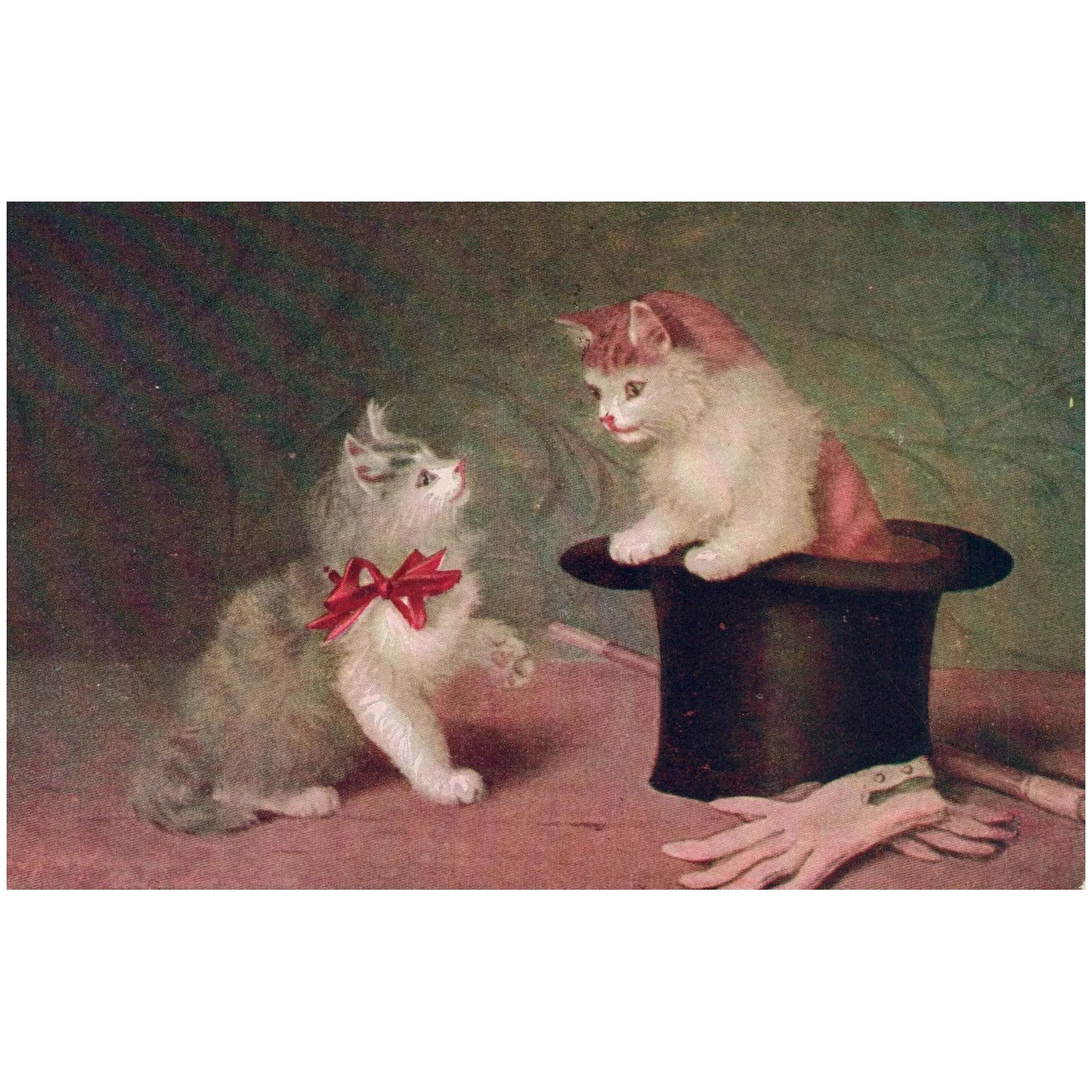 Artist Kitten Cats In Top Hat Magic Trick Vintage Postcard North Star Antiques Ruby Lane
