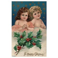 Merry Christmas Children Angels vintage Christmas postcard