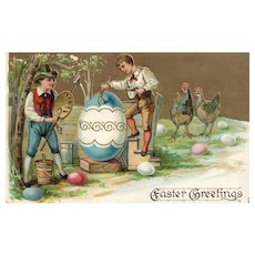 1908  Lovely Easter Greetings Postcard Boy Artists Paint An egg 883