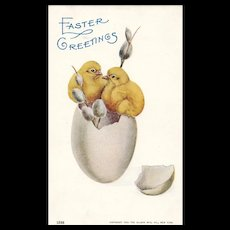 1905 Easter Greetings Ullman Vintage Postcard Chicks on Egg