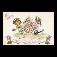 Adorable Nash Easter Bonnet Box with Bunny Rabbit vintage postcard