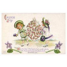 Adorable Nash Easter Bonnet Box with Bunny Rabbit vintage postcard