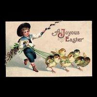 Ellen Clapsaddle Joyous Easter Chicks on leashes Garre Vintage Postcard