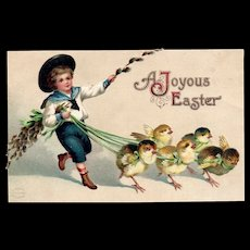 Ellen Clapsaddle Joyous Easter Chicks on leashes Garre Vintage Postcard