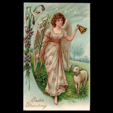 Beautiful Easter Greeting Angel rings Bell Lamb #66 Vintage postcard