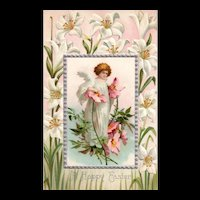 Unsigned Ellen Clapsaddle Fairy Angel Easter Postcard
