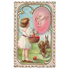 1910 Vintage Easter Postcard girl with Bunny Rabbits basket of eggs