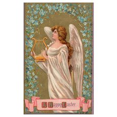 1910 Easter Angel Playing a Harp Vintage Postcard