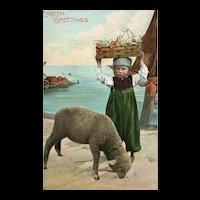 Easter Greetings Dutch boy with egg basket on his head Sheep Lamb Postcard