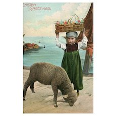 Easter Greetings Dutch boy with egg basket on his head Sheep Lamb Postcard