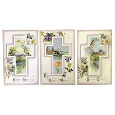 Beautiful Lot of 3 John Winsch Easter Spring Scenic Birds Cross & Flower Postcards