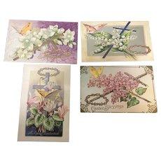 Lot of 4 Easter Cross Series No 6 Butterflies Jesus Crown Flowers Vintage Postcard