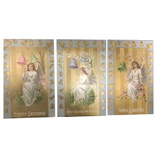 Lot of 3 Same Series Easter Angel Bells FLowers Vintage Postcards 8090