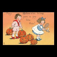 Raphael Tuck Halloween Children with Jack O Lanterns Vintage Postcard series 188