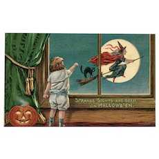 1911 Vintage Halloween Postcard Whitch flying by the Full Moon with Cat