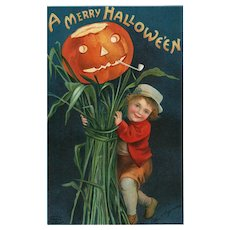 1910 Artist Signed Ellen Clapsaddle Halloween Series 978 Boy with Jack O Lantern postcard