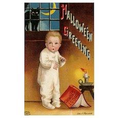 1912 Artist Signed Ellen Clapsaddle Ghost Stories vintage Postcard