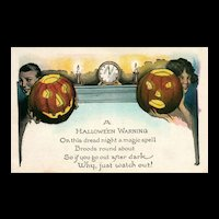 "Vintage Halloween Postcard ""A Halloween Warning"""