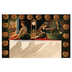 Early 1906 Halloween Bobbin for Apples  Ghosts vintage Postcard