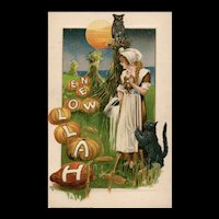 1913 John Winsch Samuel Schmucker Halloween Pilgrim Maiden Owl Moon Black Cat  vintage Postcard