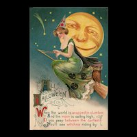 1911 John Winsch Samuel Schmucker green Witch Full Face Moon Halloween postcard