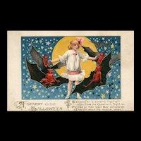 1913 John Winsch Samuel Schmucker A Starry Halloween Girl with goblins, bats and full Moon Postcard