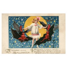 1913 John Winsch Samuel Schmucker A Starry Halloween Girl with goblins, bats and full Moon Postcard