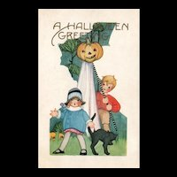 1900's Whitney vintage Halloween Postcard Children Black Cat Jack O Lantern
