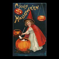 Artist Signed Ellen Clapsaddle A Jolly Halloween Little girl Witch in Red