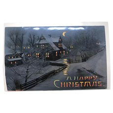 1908 Hold To The Light Scenic Winter Vintage Christmas postcard