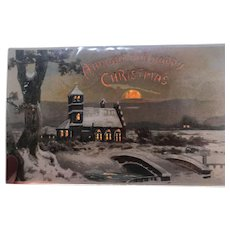 1907 Hold To The Light Church in the Winter sunset Vintage Christmas postcard