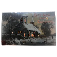 1908 Hold To The Light Scenic Winter Church Christmas Postcard