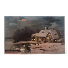 1907 Hold To The Light cottage by the water in Moonlight vintage postcard