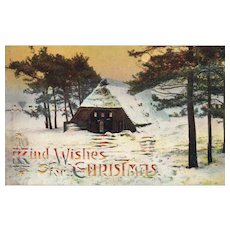 Hold to the Light Christmas Scenic Sunset Vintage postcard