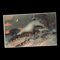1900's Hold to the Light Christmas Greeting Vintage Postcard